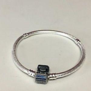 Jewelry - Charm Bracelet with Blue Rhinestone Clasp